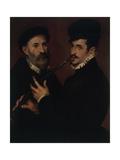Double Portrait with a Cornet Player (Doppio Ritratto Con Suonatore Di Cornetto) Giclee Print by Bartolomeo Passarotti or Passerotti