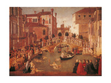 Miracle of the Relic of the Cross on San Lorenzo Bridge Giclée-tryk af Gentile Bellini