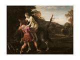 Roger Delivering Angelica Giclée-tryk af Giovanni Lanfranco