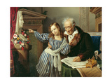 Old Man Showing His Little Niece the Herm of Maria Luigia Giclee Print by Giuseppe Molteni