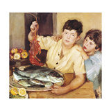 Children with Fishes (Bambini E Pesci) Giclee Print by Armando Spadini