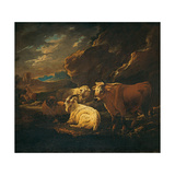 Cattle, Goats and Sheep in a Landscape Giclee Print by (Close to) Philipp Peter Roos (Rosa from Tivoli)