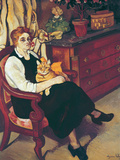 Portrait of Lily Walton with Raminou (Portrait De Miss Lily Walton Avec Raminou) Giclee Print by Suzanne Valadon