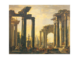 Roman Ruins with the Resurrection of Drusiana Giclee Print by Giovanni Ghisolfi