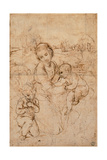 Drawing, Madonna and Child with the Young St. John Art par  Raphael