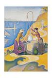 Mujeres en el patio Lámina por Paul Signac
