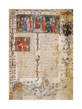Petrarch on Throne Surrounded by Characters Poster by  Master of Latin Codex