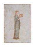 Female Figure Holding a Vase, 25 A.D. Ancient Roman painting. Palazzo Massimo, Rome, Italy Prints