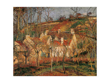 Red Roofs, Corner of a Village, Winter Reproduction giclée Premium par Camille Pissarro
