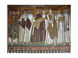 Basilica of San Vitale, Presbytery with Mosaic of Emperor Justinian, 6th c. Ravenna, Italy. Prints