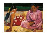 Donne tahitiane Poster di Paul Gauguin