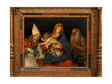 Madonna and Child with Saints, painting with elaborate frame, 1500. Borghese Gallery, Rome, Italy Prints