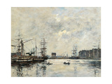 Port of Le Havre (Dock of La Barre) Giclee Print by Eugène Boudin
