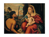 Madonna and Child with St. John the Baptist Art by Bernardino Licinio