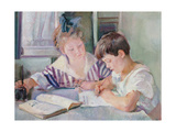 Studying Children Print by Armando Spadini