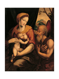 Virgin and Child Adored by St. Jerome Posters by Luis de Morales de Morales