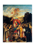 St. Gotthard Altarpiece, Madonna Enthroned with Angels & Saints Prints by Cariani Busi