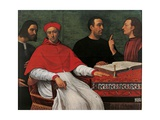Cesare Borgia & Niccolo Machiavelli talking to Cardinal Pedro Loys Borgia and his secretary,16th c. Print