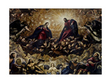 Heaven, (detail of Virgin Mary and Jesus Christ) by Tintoretto, c. 1588-92. Doges Palace, Venice Giclee Print by  Tintoretto