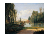 Ducal Park of Colorno with a View of the Pond Giclee Print by Giuseppe Drugman
