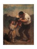 Kiss, or Father and Child Reproduction procédé giclée par Honor Daumier