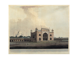 Taj Mahal, Agra, India, 19th century aquatint etching. Braidense National Library, Milan, Italy Poster