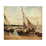 Trouville, Fishing Boats Stranded in the Channel Posters by Jean-Baptiste-Camille Corot