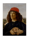 Portrait of a Man with a Medal of Cosimo the Elder Art by Sandro Botticelli