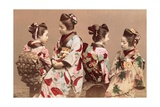 Felice Beato, Japanese Girls in Traditional Dresses, 1863-1877. Brera Gallery, Milan, Italy Poster by Felice Beato