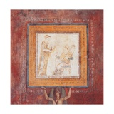 Small picture with figures of female musicians., 25 A.D. Ancient Roman painting. Palazzo Massimo Print