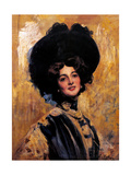 Portrait of Lina Cavalieri Prints by Cesare Tallone