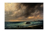 Storm on the Beach of Scheveningen,  by Giuseppe Canella, 1839. Brera Gallery, Milan, Italy Poster by Giuseppe Canella