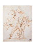 Drawing, Warrior Riding a Horse and Fighting against Two Standing Figures Art by  Raphael