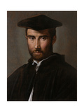 Portrait of a Man (Clergyman), Parmigianino, c. 1526. Borghese Gallery, Rome, Italy Print by  Parmigianino
