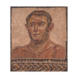 Bust of Athlete, Roman Mosaic, 3rd Century A.D. Porta Maggiore, The Baths of Helen, Rome. Poster