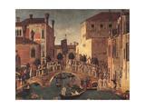 Miracle of the Relic of the Cross on San Lorenzo Bridge, by Gentile Bellini, 1500. Venice. Detail Giclée-tryk af Gentile Bellini