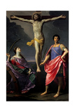 Jesus Christ Crucified between St Catherine of Alexandria and St Julius Poster von Guido Reni