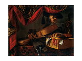 Musical Instruments with Portrait Poster by Evaristo Baschenis