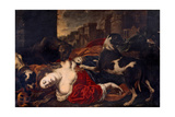 Queen Jezebel Torn by Dogs Print by , Florentine Artist