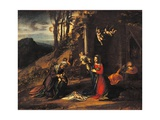 Nativity (Holy Night) with the Young St. John & St. Elizabeth Poster by  Correggio