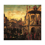 Miracle of the Relic of the True Cross at the Rialto Bridge Kunst af Vittore Carpaccio