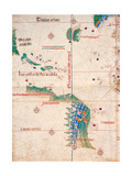 Map of South America and the Coastline of Brazil with parrots, 1502, Estense Library,Modena, Italy Premium Giclee Print