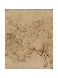 Drawing, St. George Killing the Dragon with a Lance Posters by  Raphael