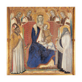 Carmine Altarpiece, Enthroned Virgin and Child, by Lorenzetti Pietro, 1329. Siena, Italy Giclée-tryk af Pietro Lorenzetti