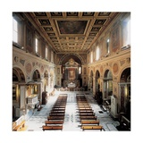 Church of San Lorenzo, 4th c. Interior view of nave toward alter, Rome Italy Posters
