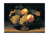 Still Life, Peaches, White Grapes, Black Grapes, Vine Leaves, Metal Cup Poster by Panfilo Nuvolone Nuvolone