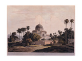 Indian landscape with Palace Tomb,19th c. aquatint etching. Braidense National Library, Milan Prints
