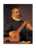Mandola Player Giclee Print by Agostino Carracci