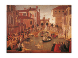 Miracle of the Relic of the Cross on San Lorenzo Bridge Print by Gentile Bellini