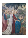 Legend of the Cross: Solomon & Sheba Print by  Piero della Francesca